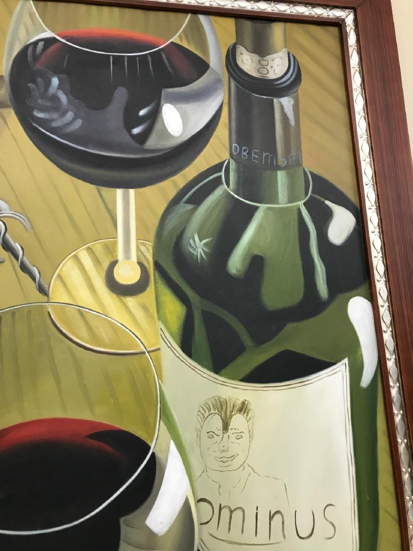 Oil on Canvas of Wine Bottle, Glasses - 6