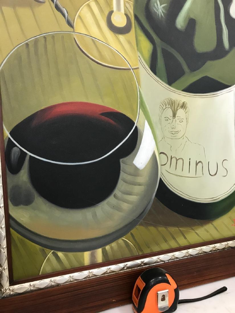 Oil on Canvas of Wine Bottle, Glasses - 7