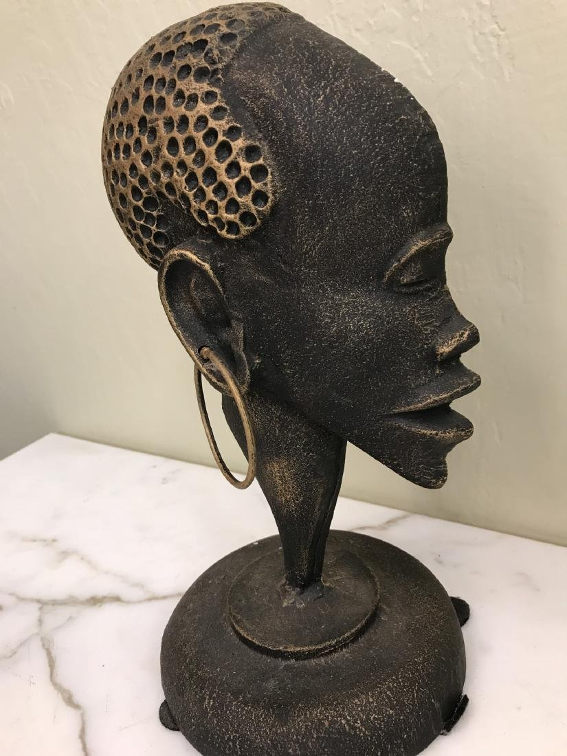 Bronze African Statue of Woman's Head - 2