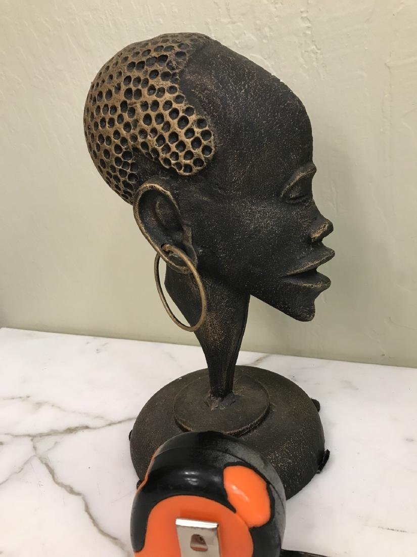 Bronze African Statue of Woman's Head - 4