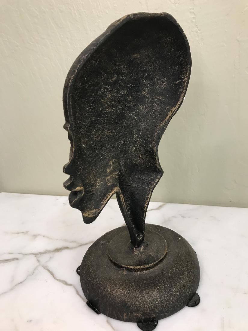 Bronze African Statue of Woman's Head - 5