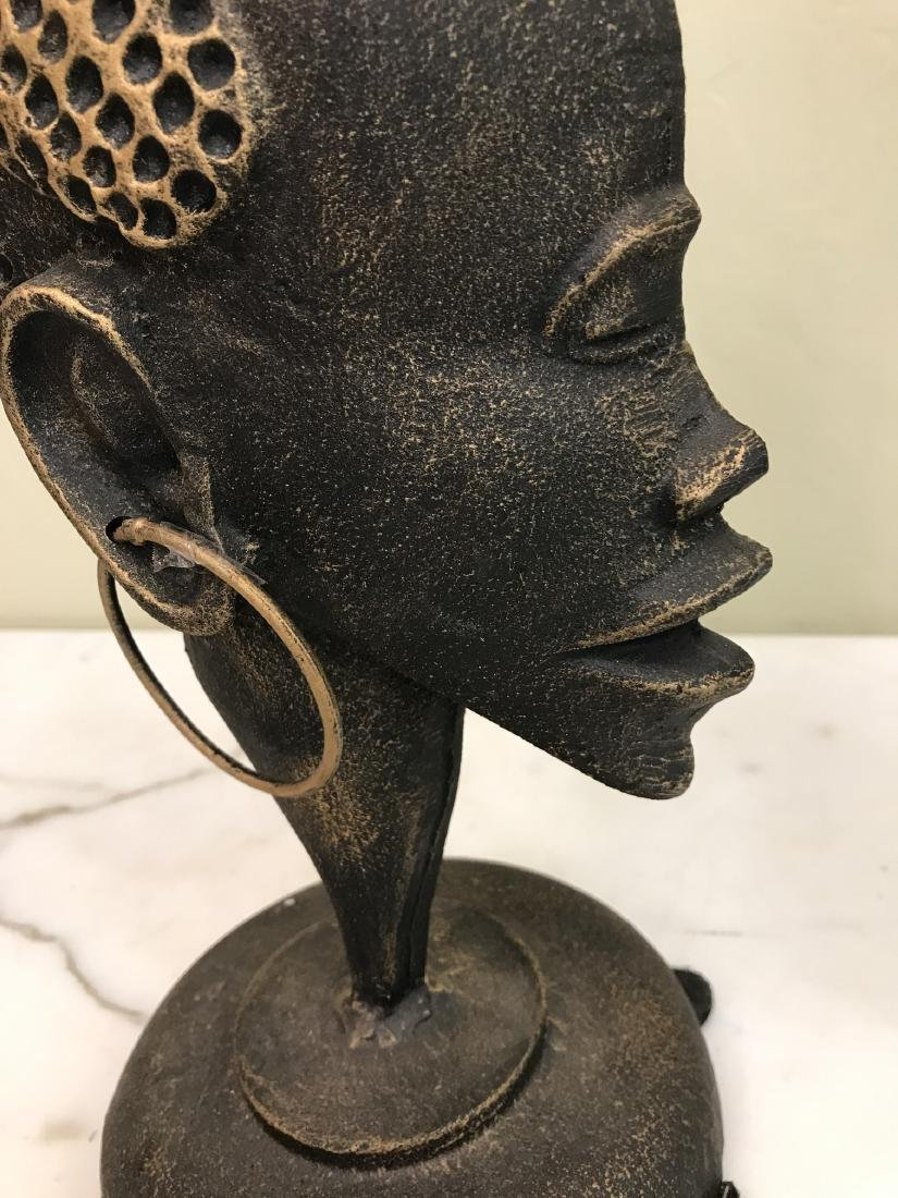 Bronze African Statue of Woman's Head - 8