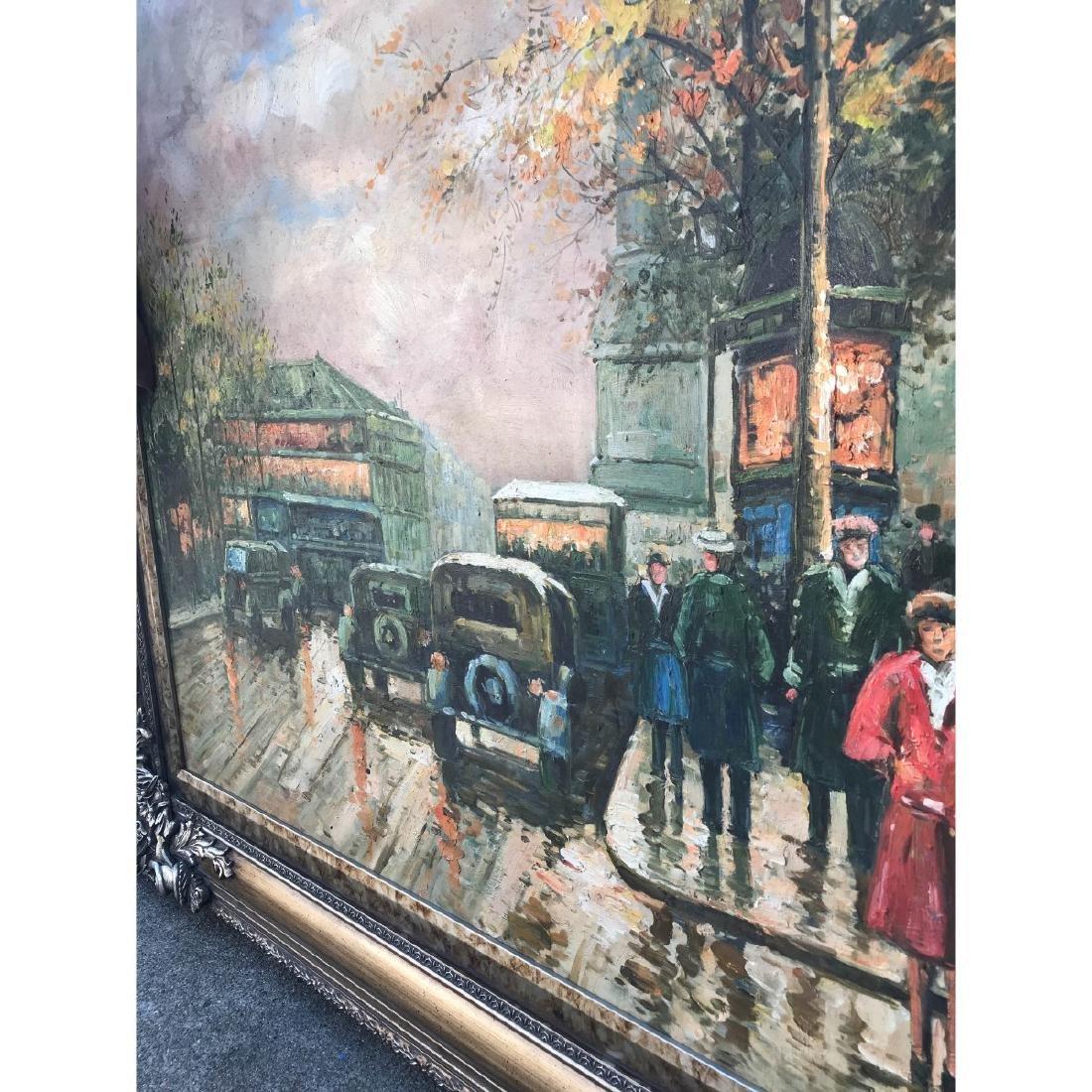 Large Oil on Canvas of European Street Scene - 10