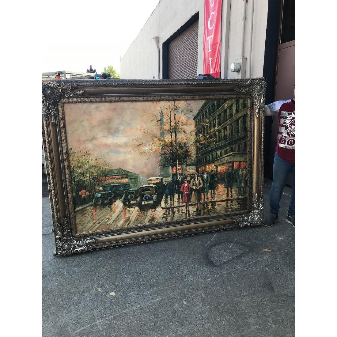 Large Oil on Canvas of European Street Scene