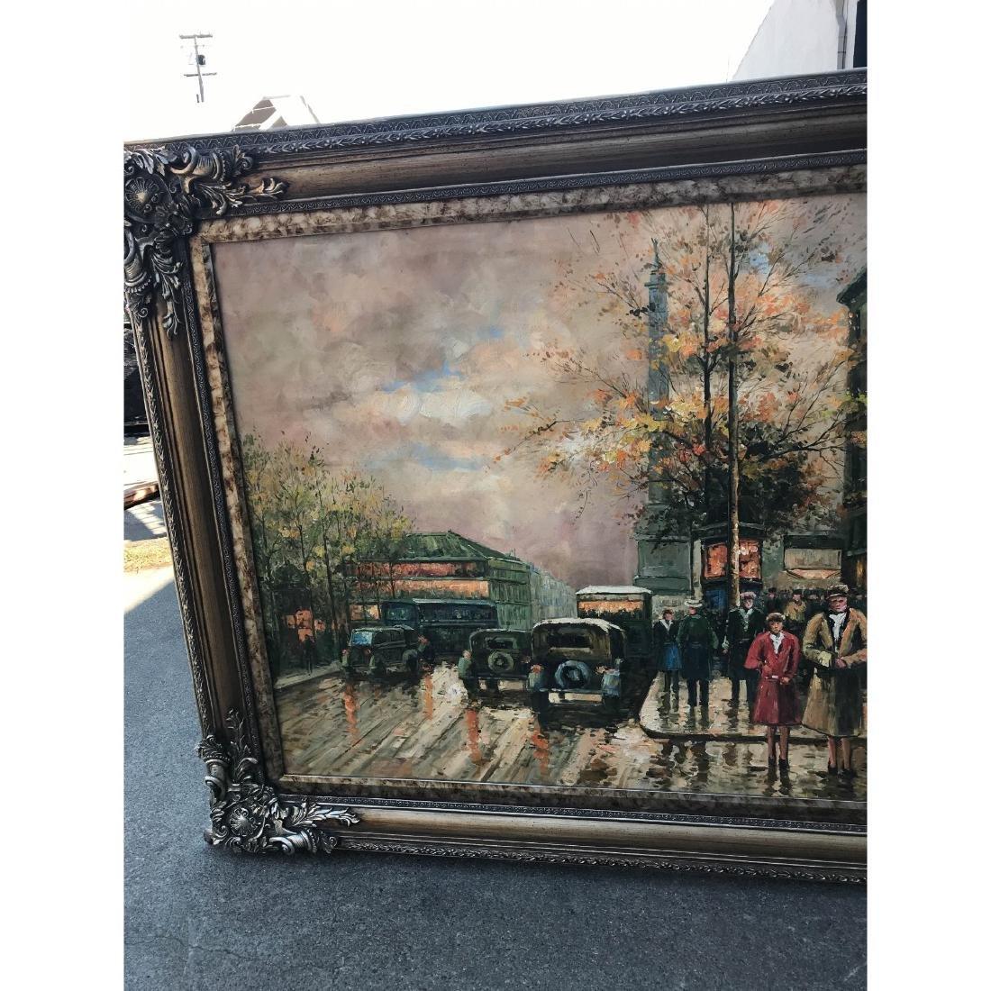Large Oil on Canvas of European Street Scene - 2