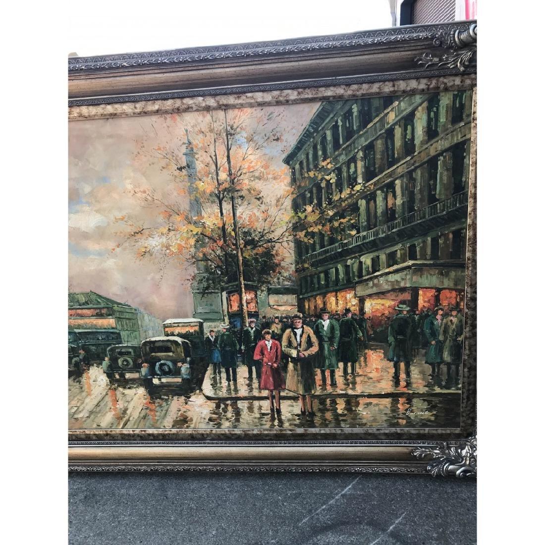 Large Oil on Canvas of European Street Scene - 3