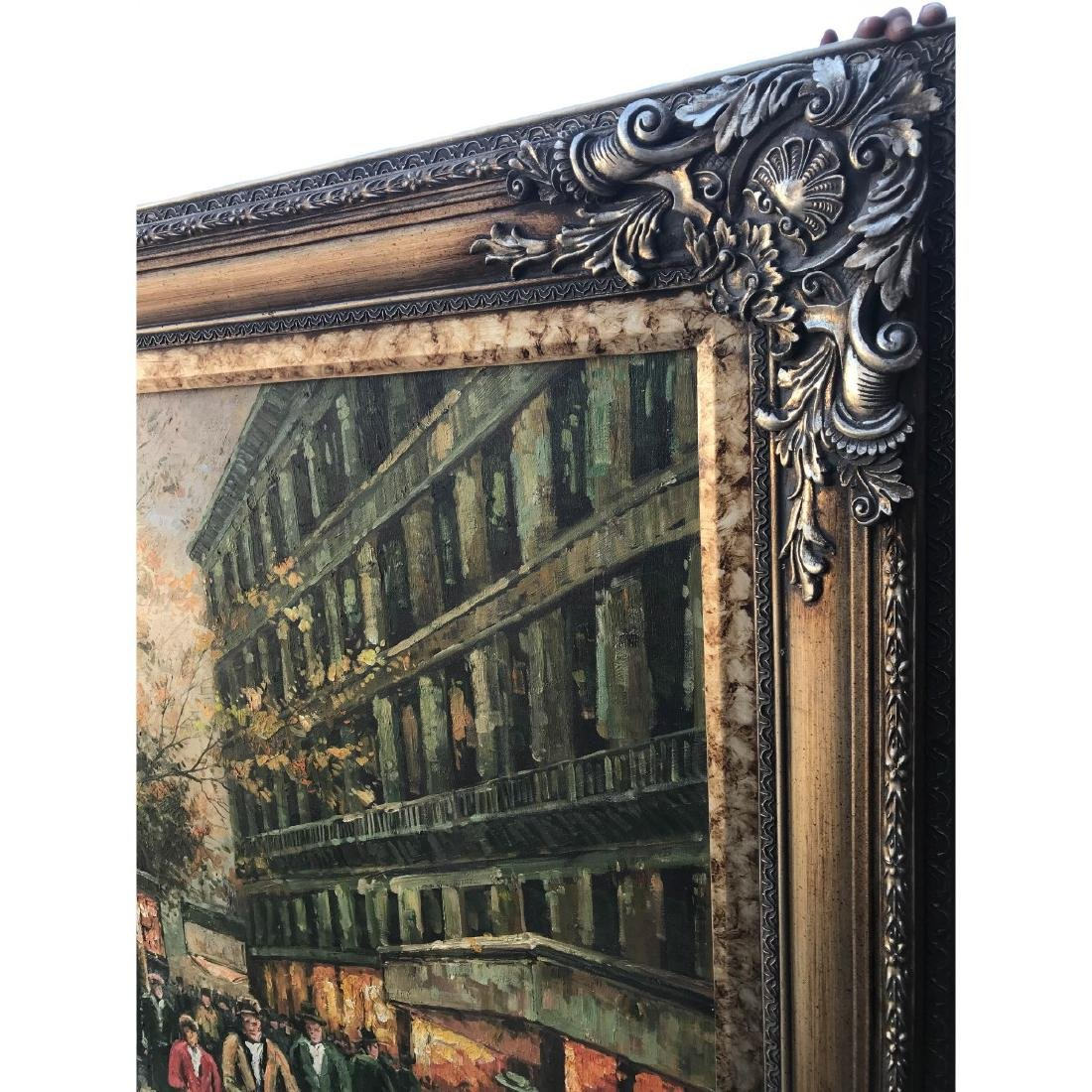 Large Oil on Canvas of European Street Scene - 4