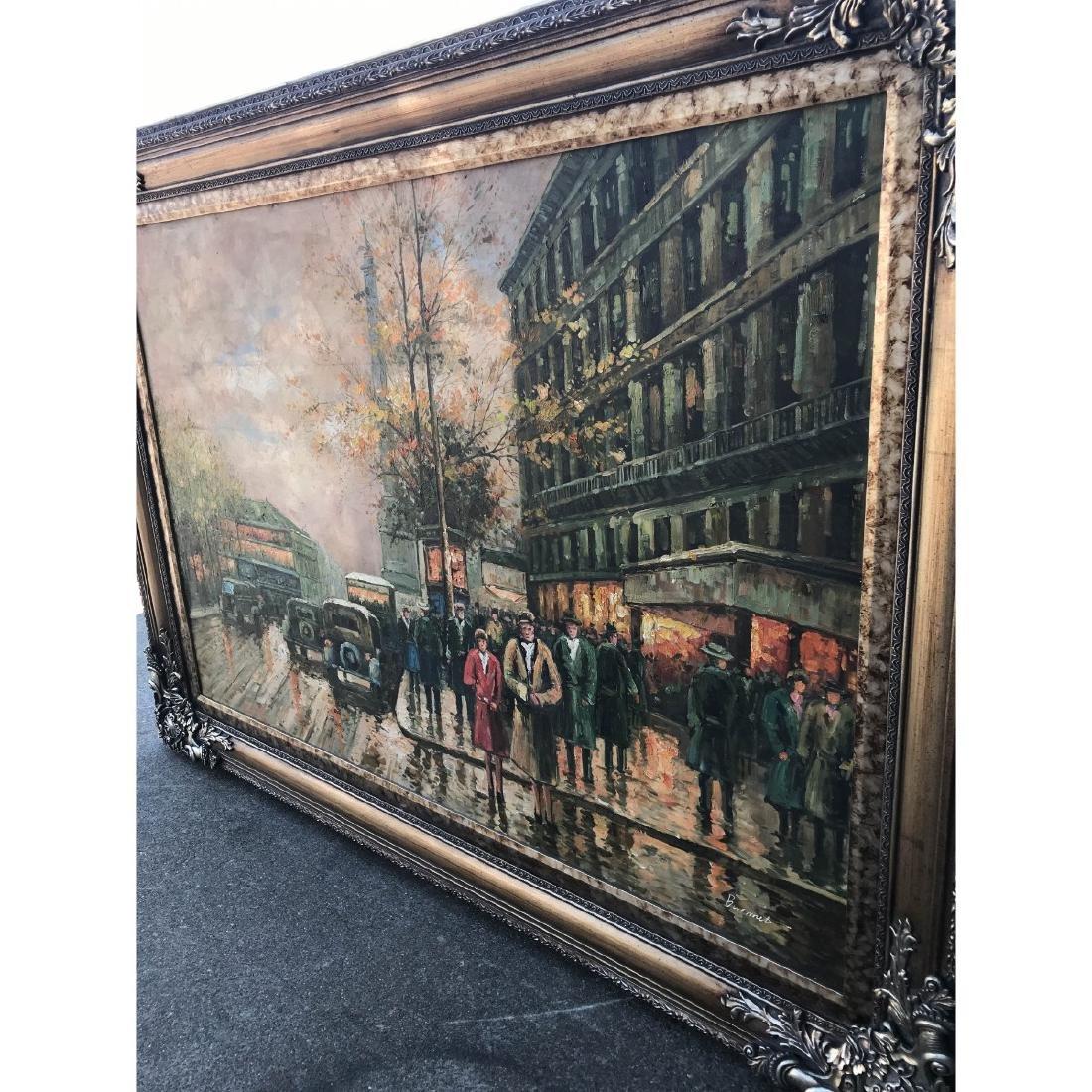 Large Oil on Canvas of European Street Scene - 5