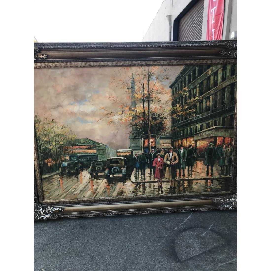 Large Oil on Canvas of European Street Scene - 7