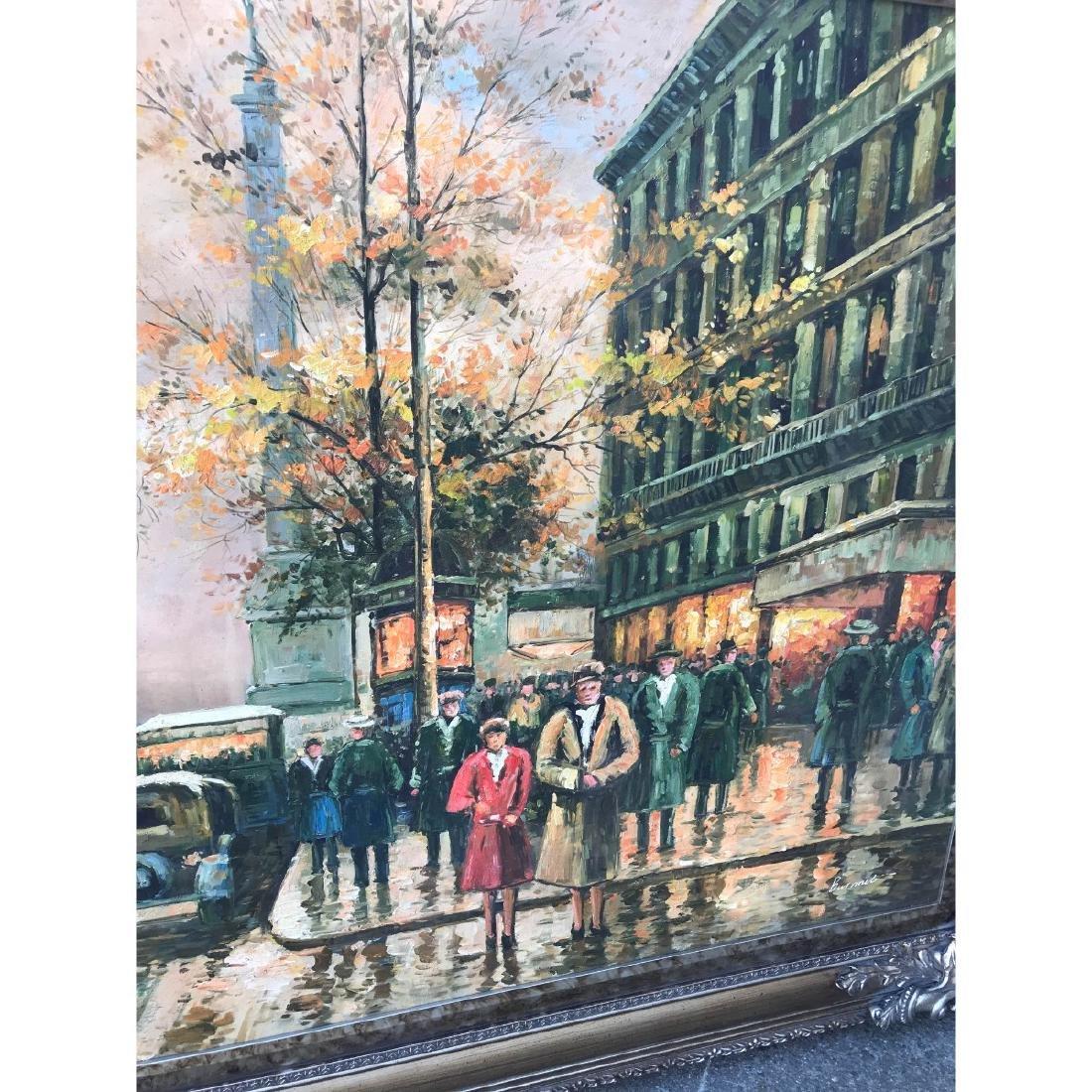 Large Oil on Canvas of European Street Scene - 8