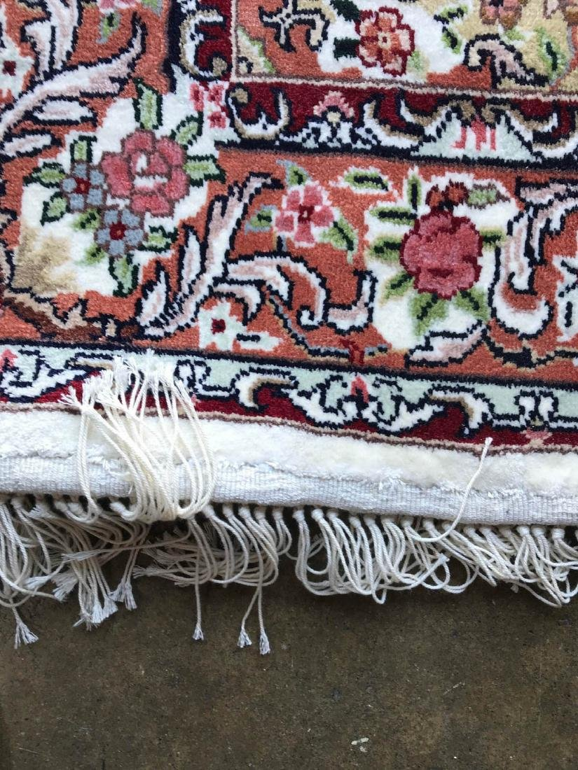 Hand-Woven Wool, Silk Area Rug w/ Floral Design - 10