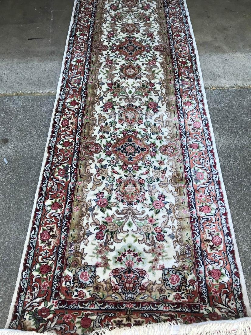 Hand-Woven Wool, Silk Area Rug w/ Floral Design