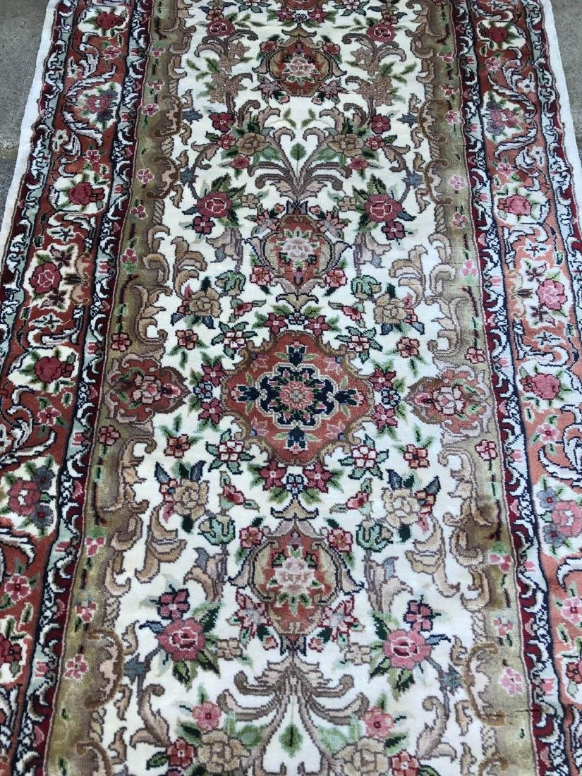 Hand-Woven Wool, Silk Area Rug w/ Floral Design - 2