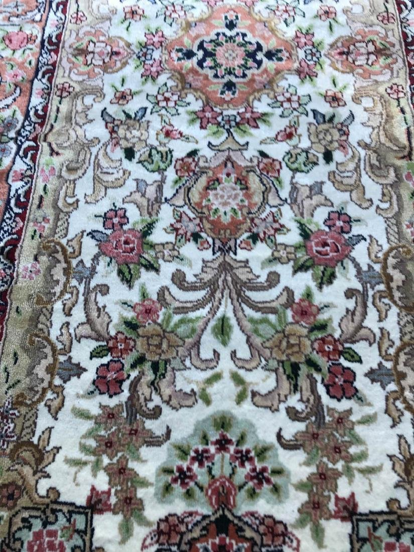Hand-Woven Wool, Silk Area Rug w/ Floral Design - 8
