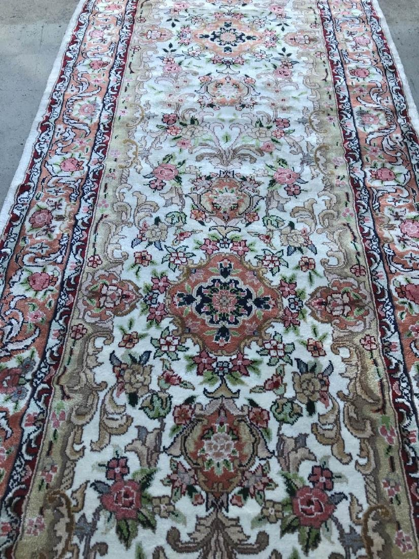 Hand-Woven Wool, Silk Area Rug w/ Floral Design - 9