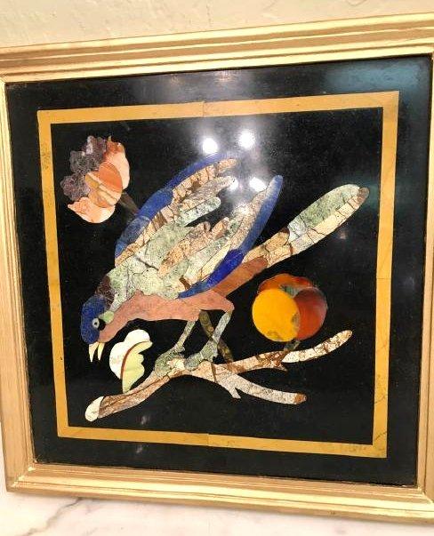Pietra Dura Mosaic Art w/ Bird, Fruit on a Branch