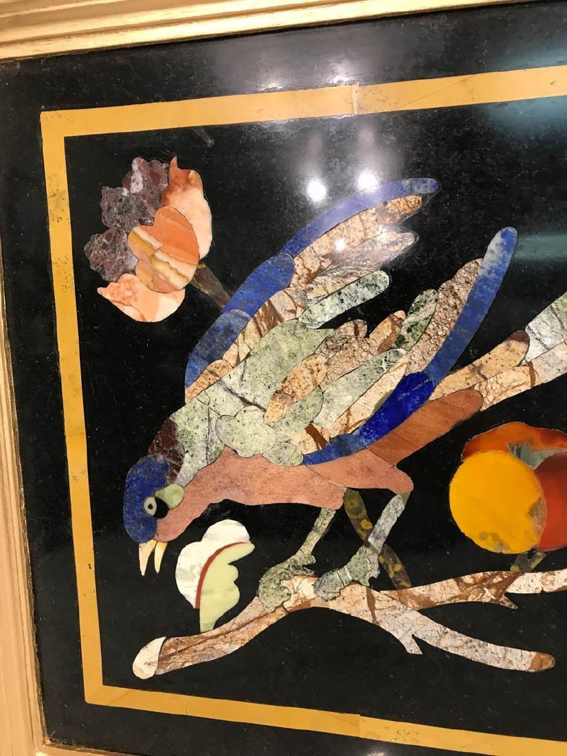 Pietra Dura Mosaic Art w/ Bird, Fruit on a Branch - 2