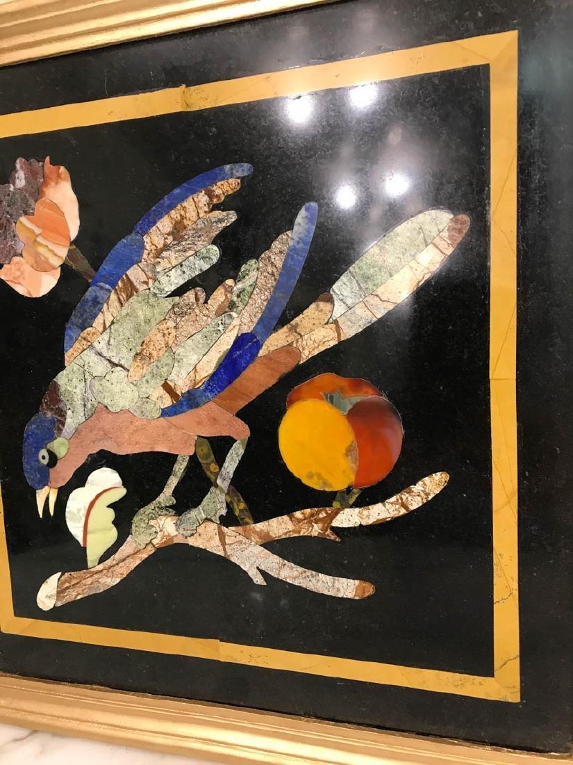 Pietra Dura Mosaic Art w/ Bird, Fruit on a Branch - 3
