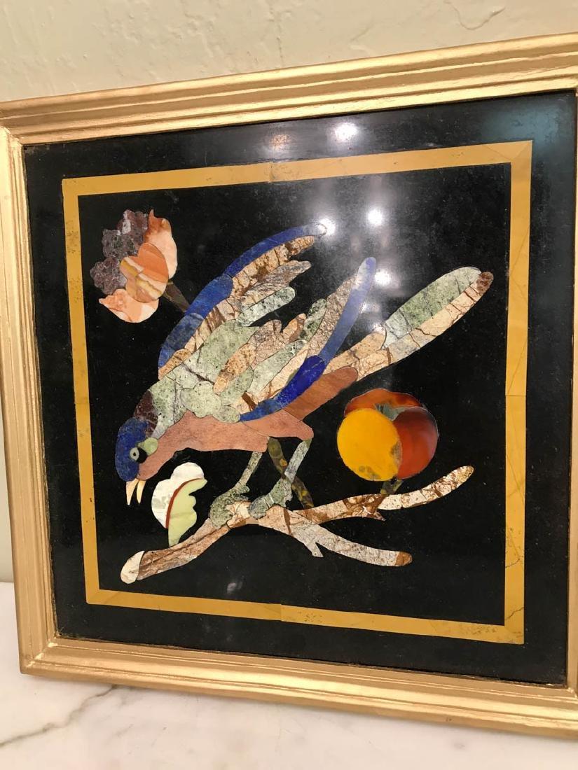 Pietra Dura Mosaic Art w/ Bird, Fruit on a Branch - 4