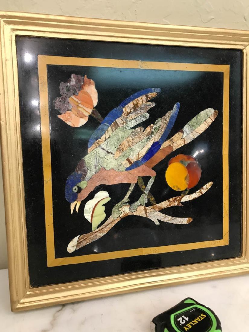 Pietra Dura Mosaic Art w/ Bird, Fruit on a Branch - 6