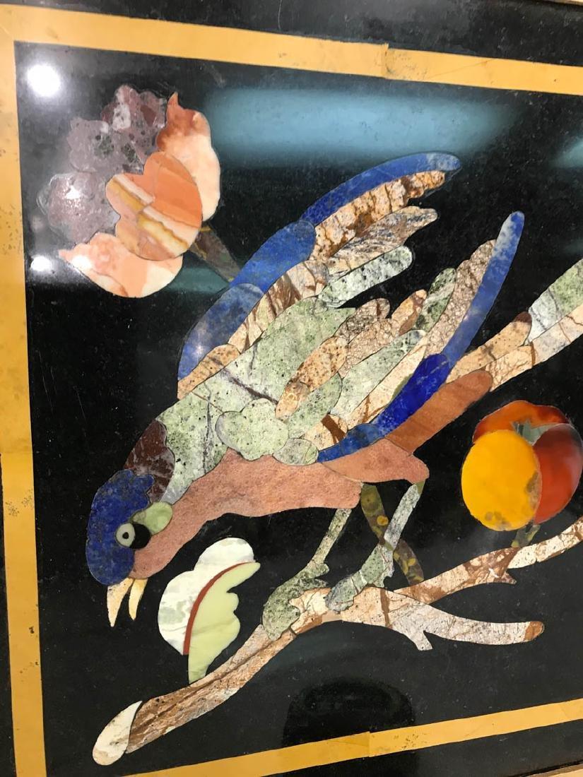 Pietra Dura Mosaic Art w/ Bird, Fruit on a Branch - 7