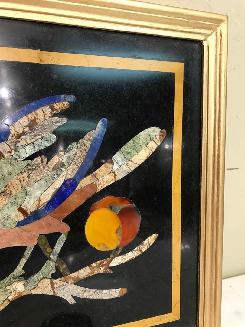 Pietra Dura Mosaic Art w/ Bird, Fruit on a Branch - 8