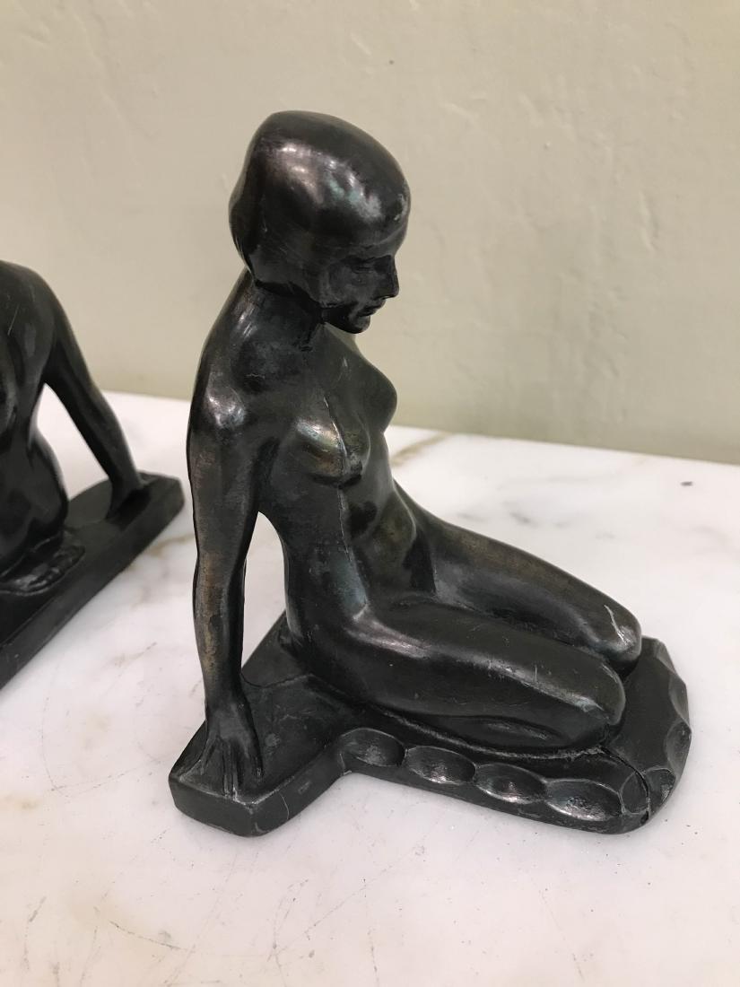 Erotic Nude Women Bronze Bookends - 2