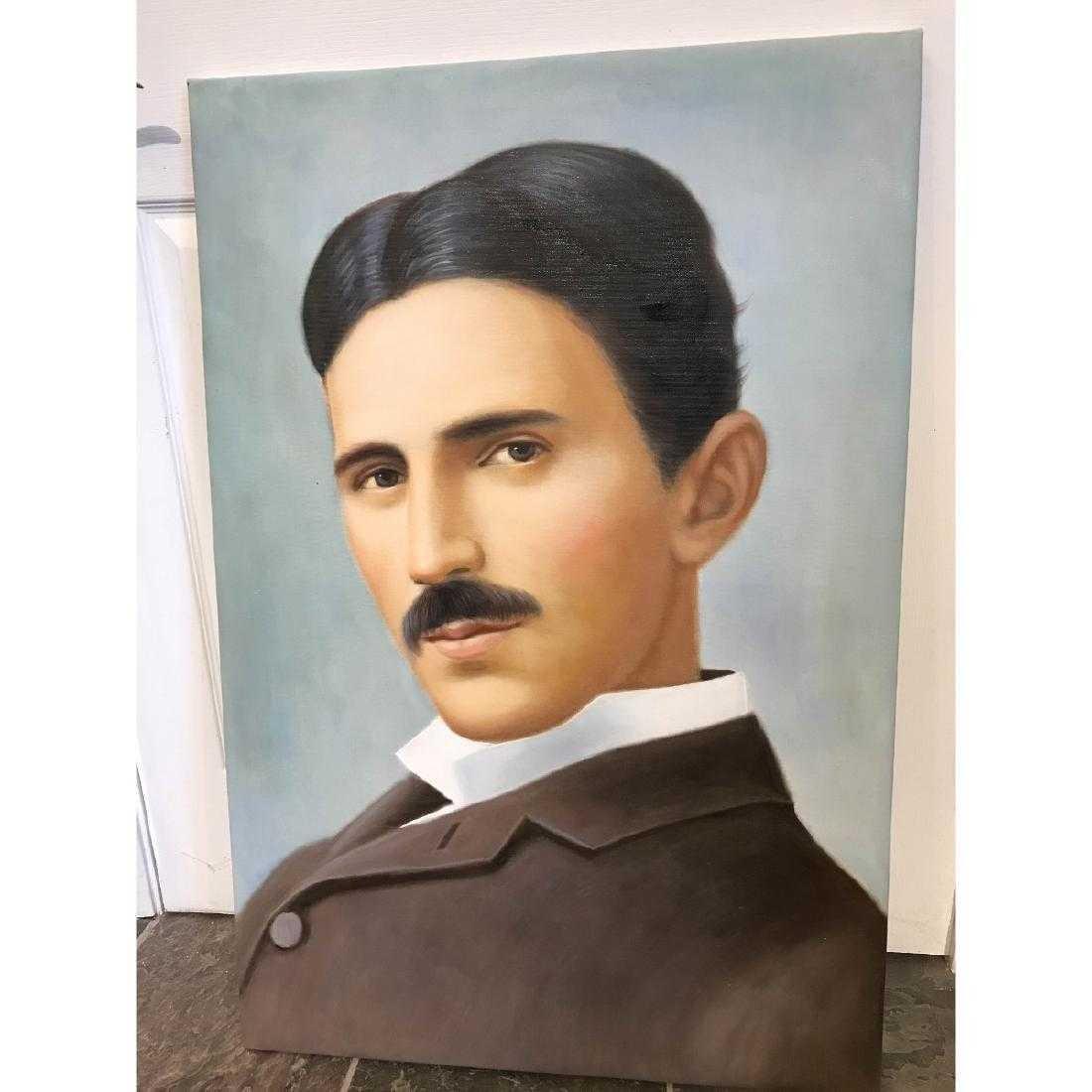 Oil on Canvas of Portrait of Nikola Tesla