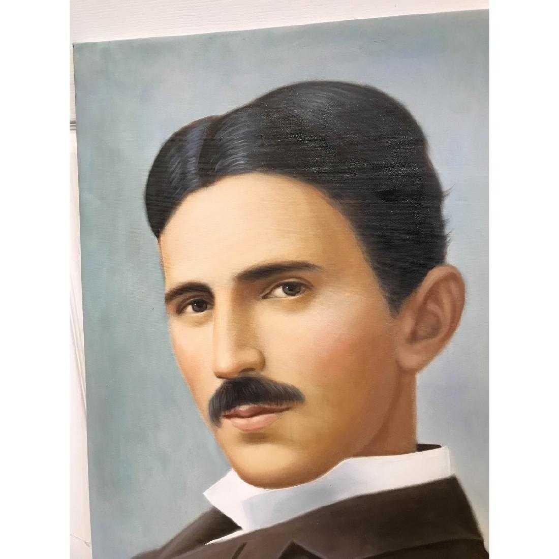 Oil on Canvas of Portrait of Nikola Tesla - 2