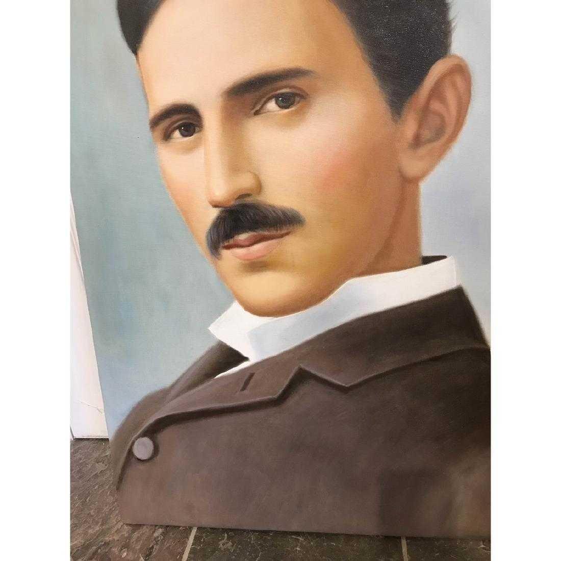 Oil on Canvas of Portrait of Nikola Tesla - 3