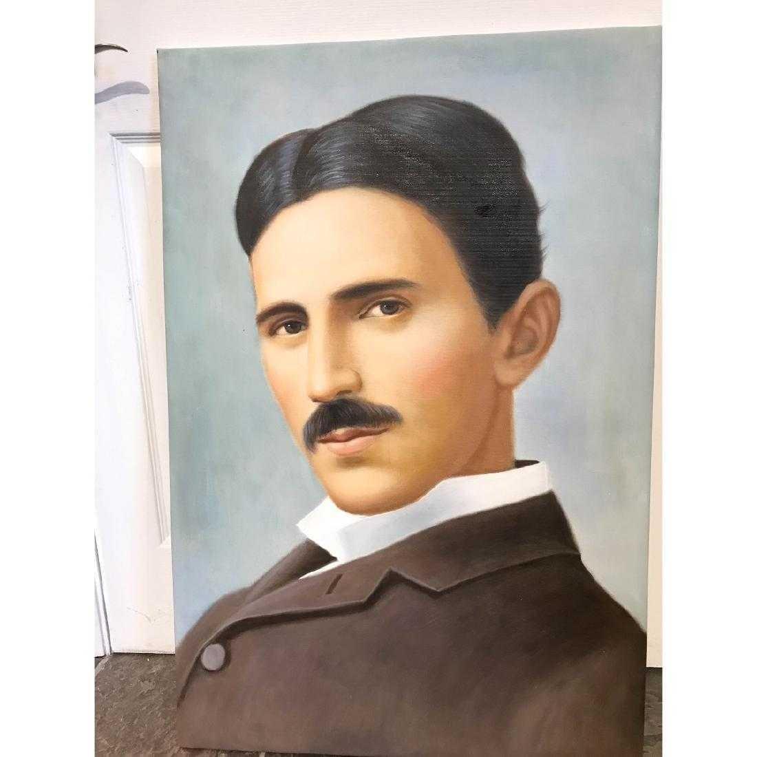 Oil on Canvas of Portrait of Nikola Tesla - 4