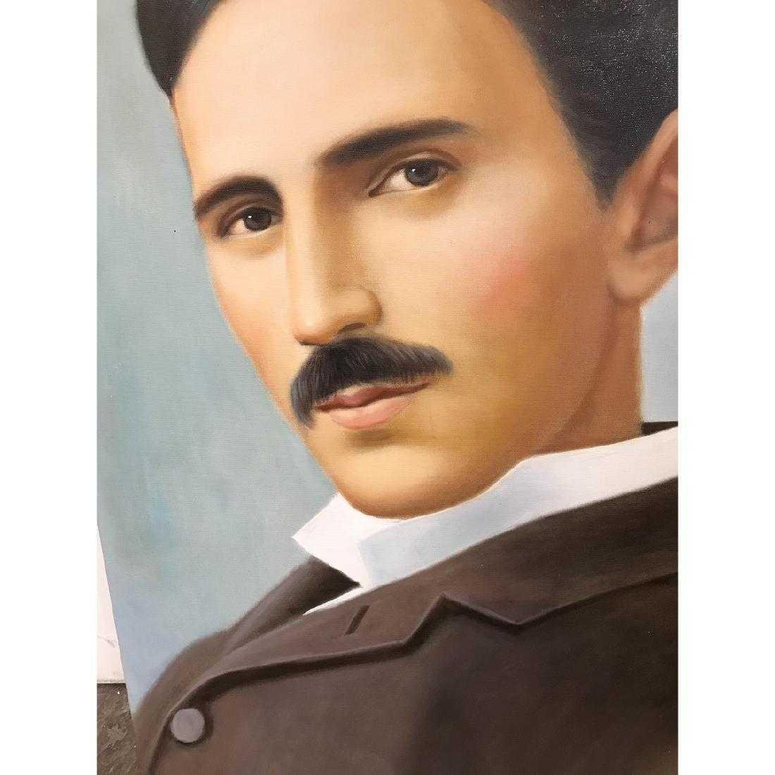 Oil on Canvas of Portrait of Nikola Tesla - 6