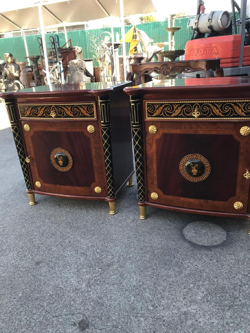 Pair of Unique End Tables w/ Gilded Accents