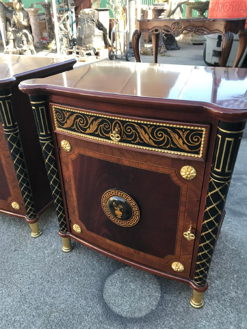 Pair of Unique End Tables w/ Gilded Accents - 2