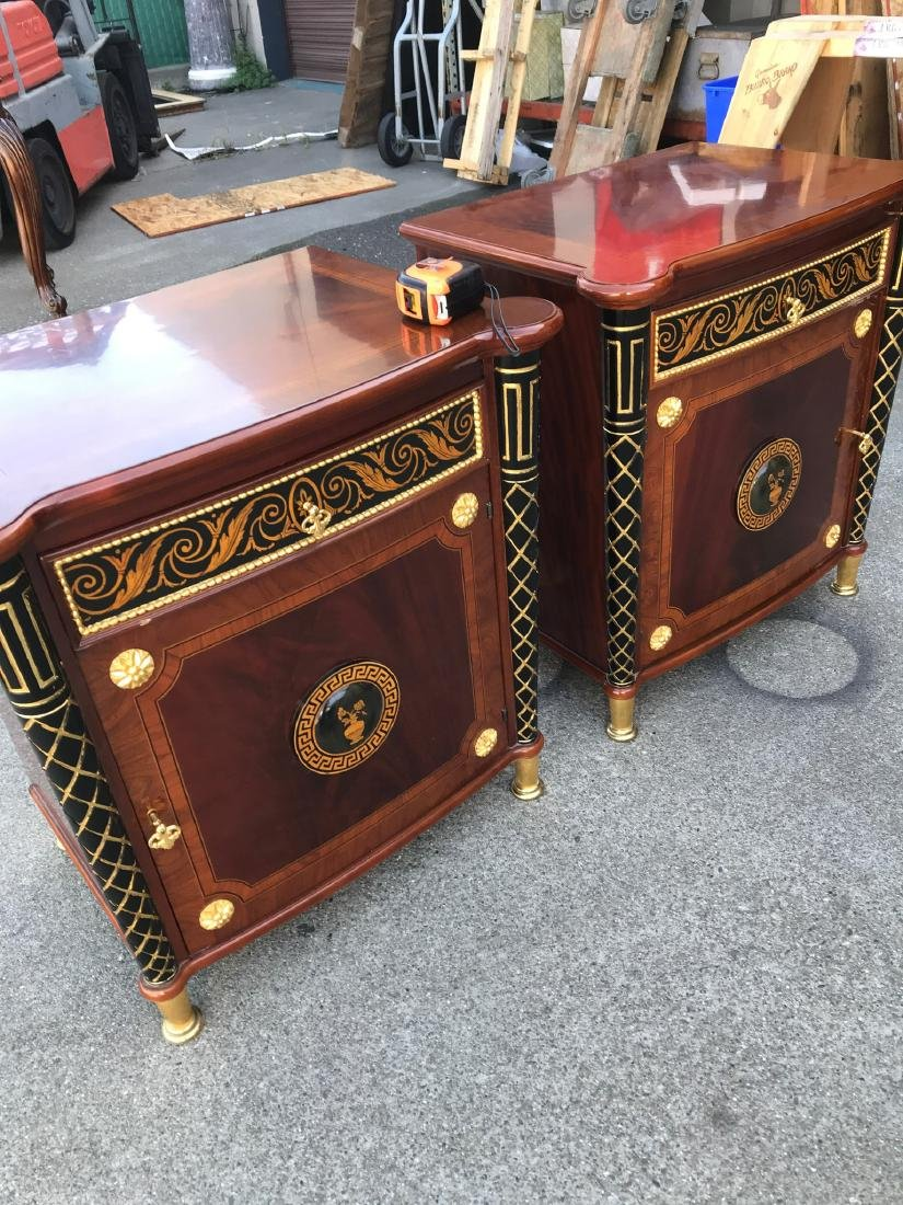 Pair of Unique End Tables w/ Gilded Accents - 7