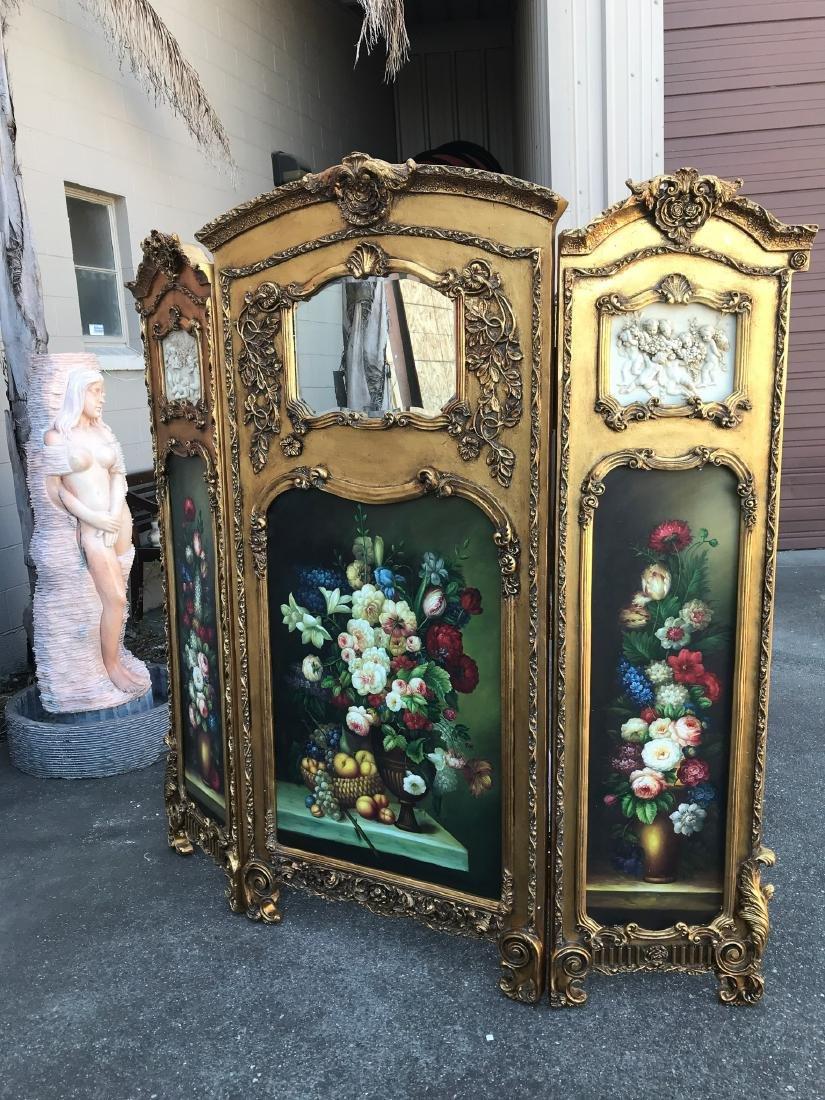 Gilded Screen with Cherubs, Beveled Mirror - 10