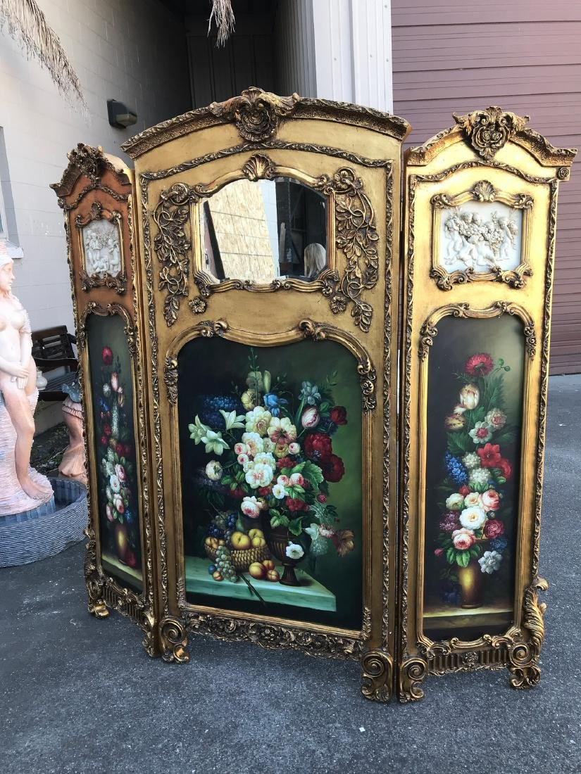 Gilded Screen with Cherubs, Beveled Mirror
