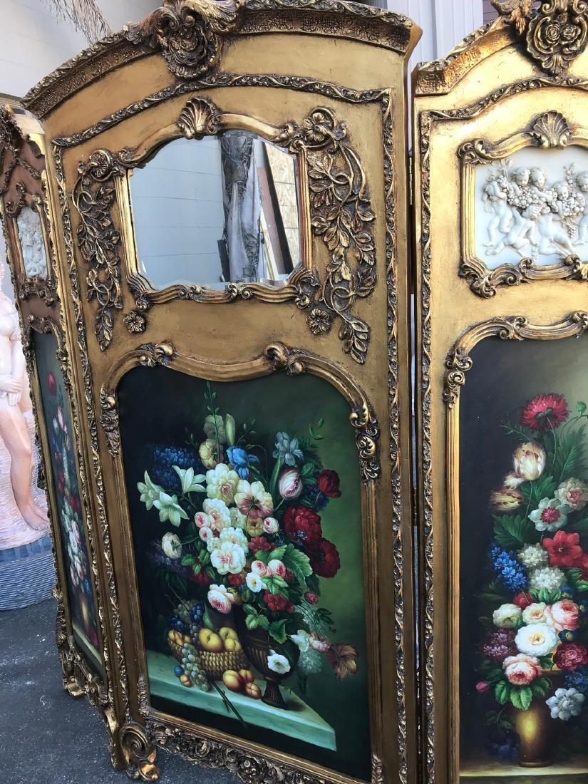 Gilded Screen with Cherubs, Beveled Mirror - 2