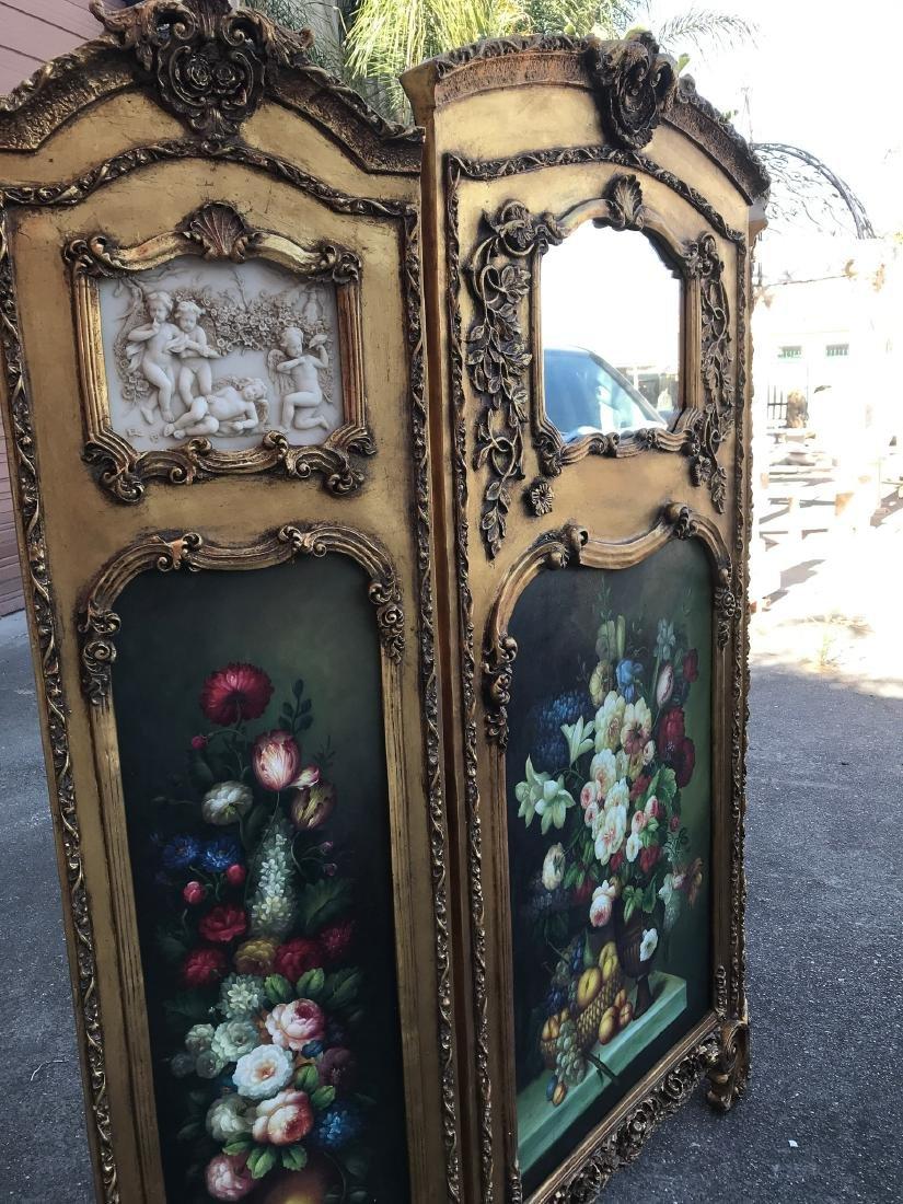 Gilded Screen with Cherubs, Beveled Mirror - 3