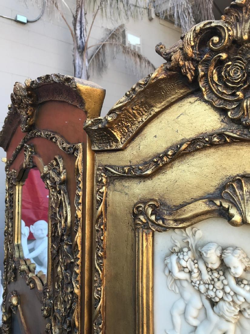 Gilded Screen with Cherubs, Beveled Mirror - 8