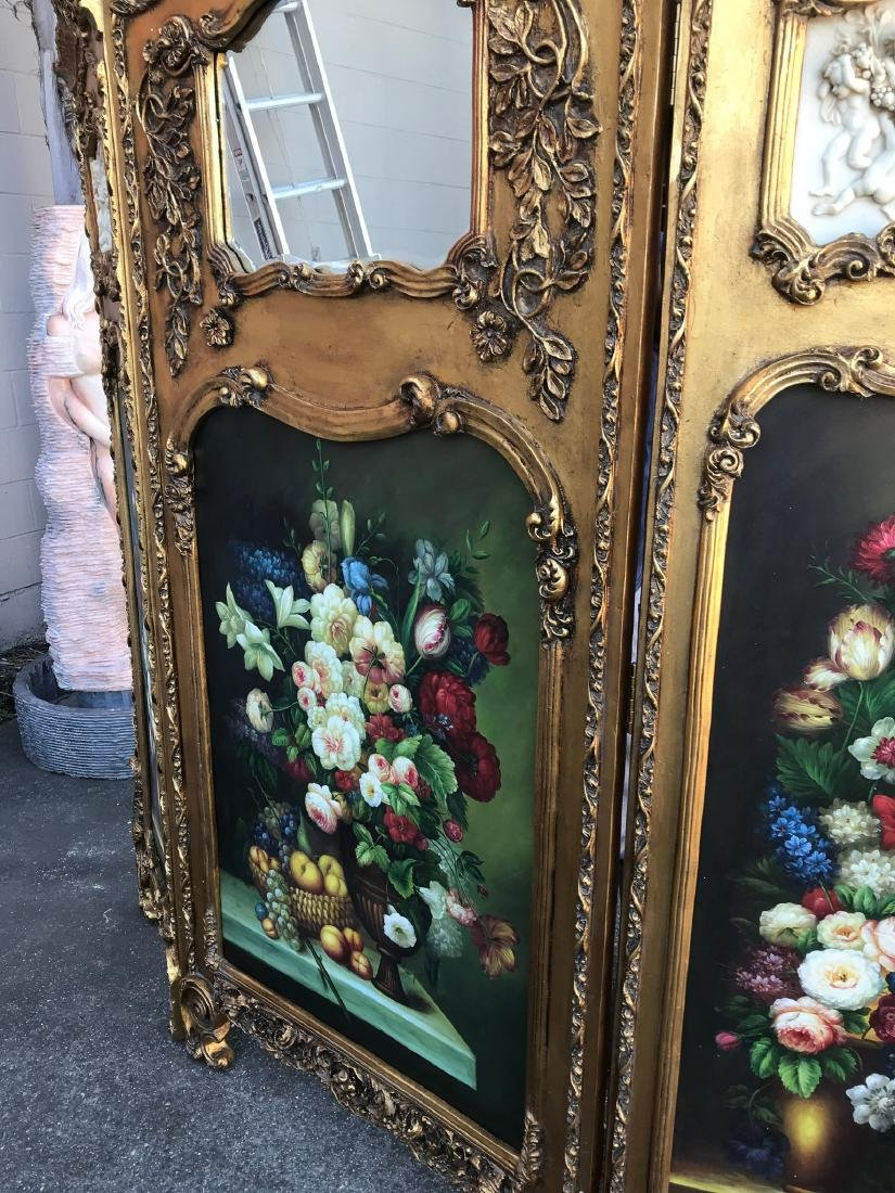 Gilded Screen with Cherubs, Beveled Mirror - 9