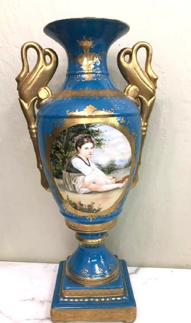 Art Deco Porcelain Vase w/ 24k Leaf, Scenery