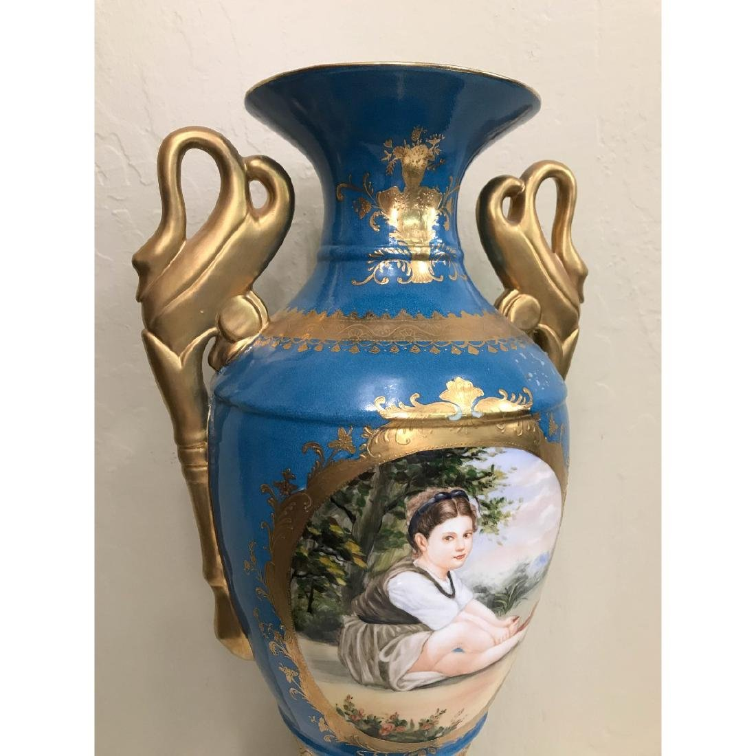 Art Deco Porcelain Vase w/ 24k Leaf, Scenery - 2