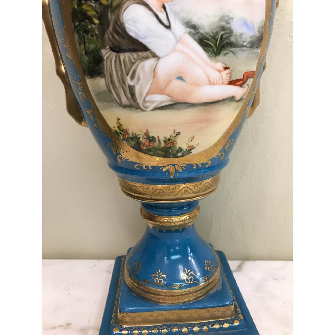Art Deco Porcelain Vase w/ 24k Leaf, Scenery - 3