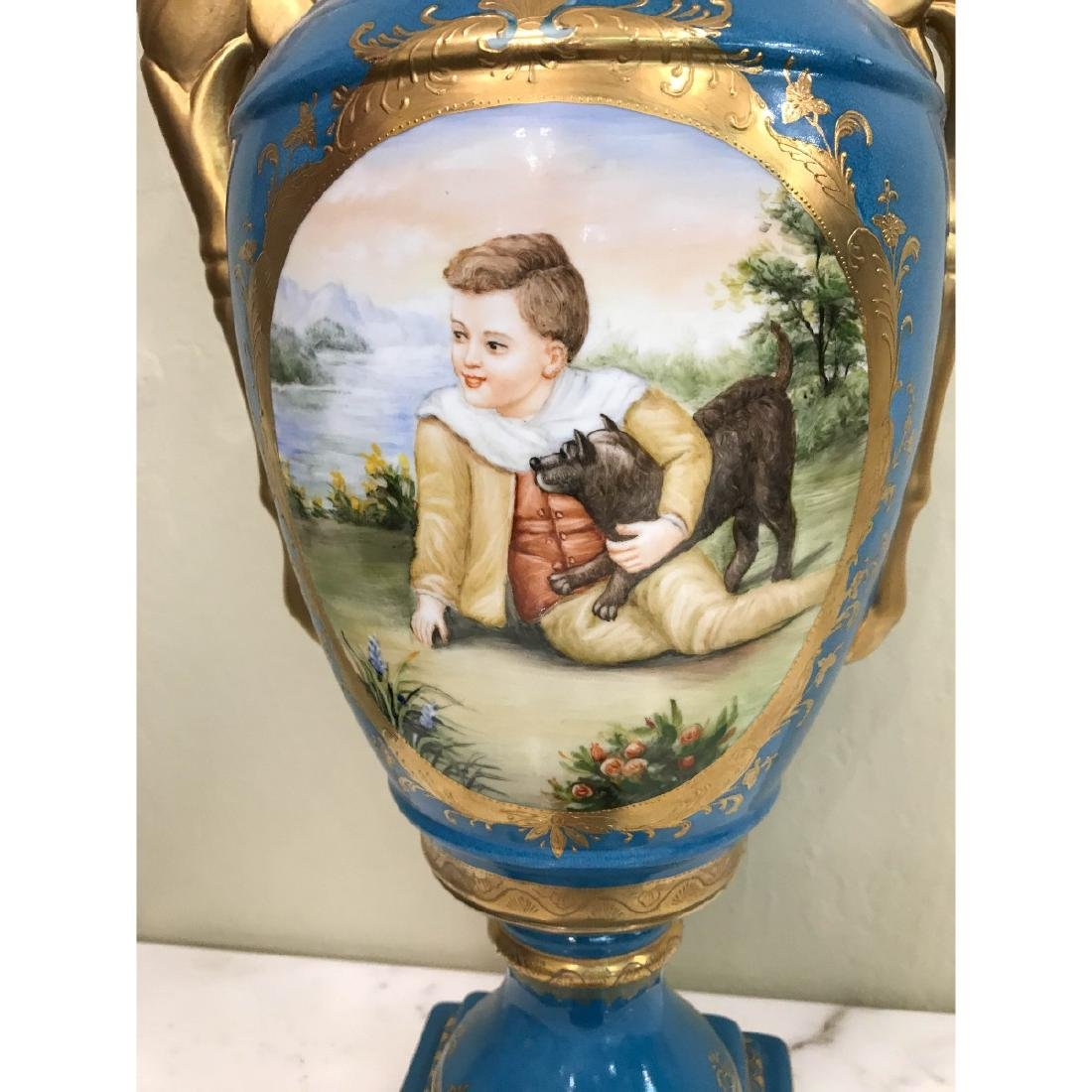 Art Deco Porcelain Vase w/ 24k Leaf, Scenery - 5
