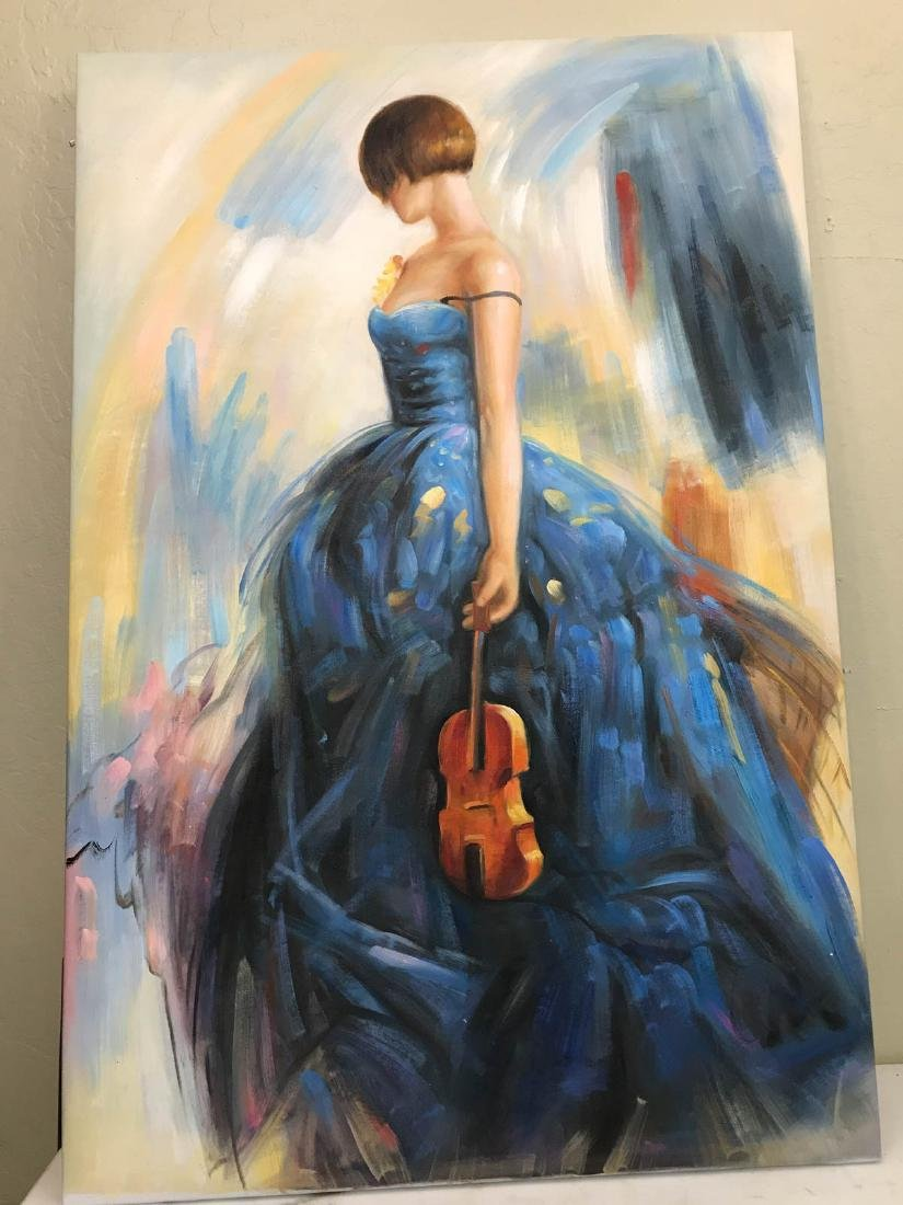 Oil on Canvas of Woman in Blue Dress w/ Violin