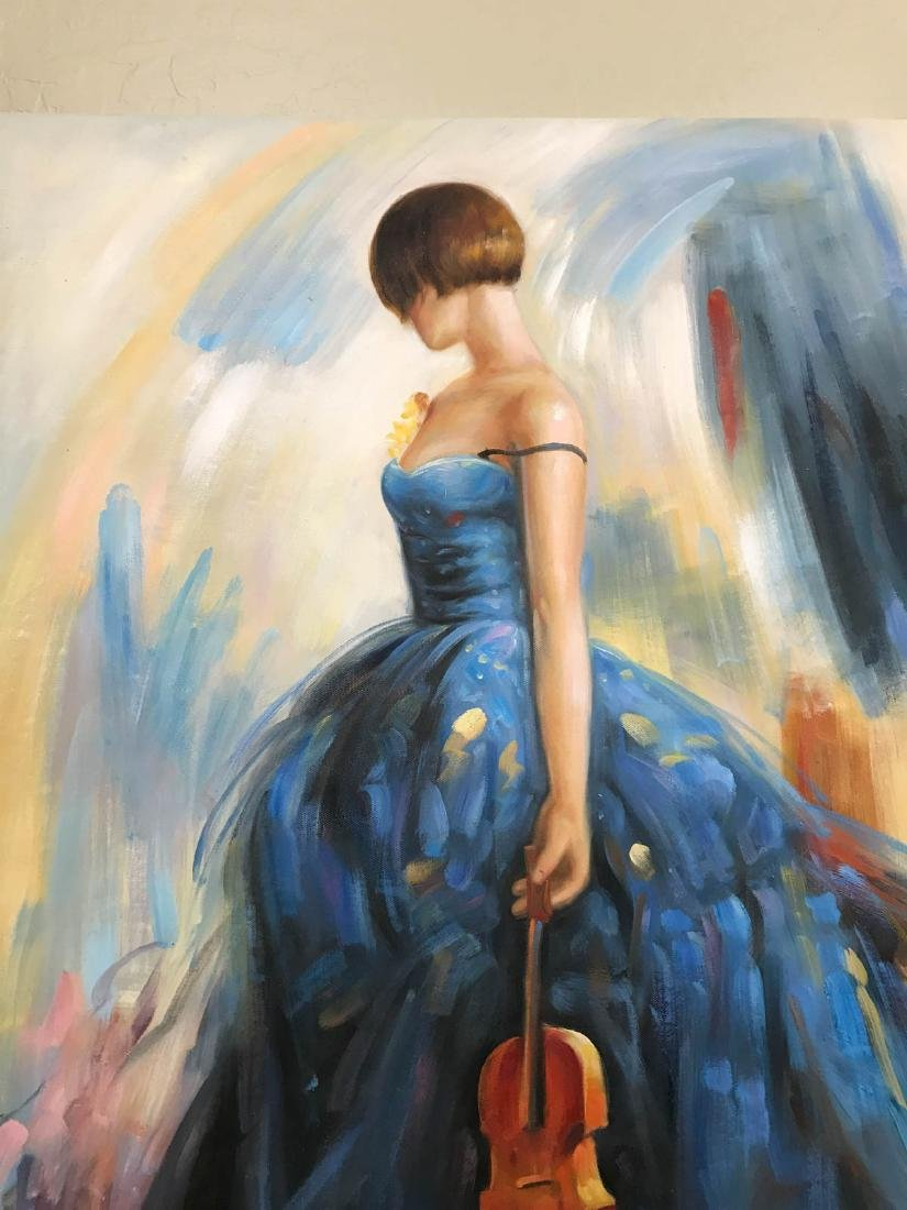 Oil on Canvas of Woman in Blue Dress w/ Violin - 2