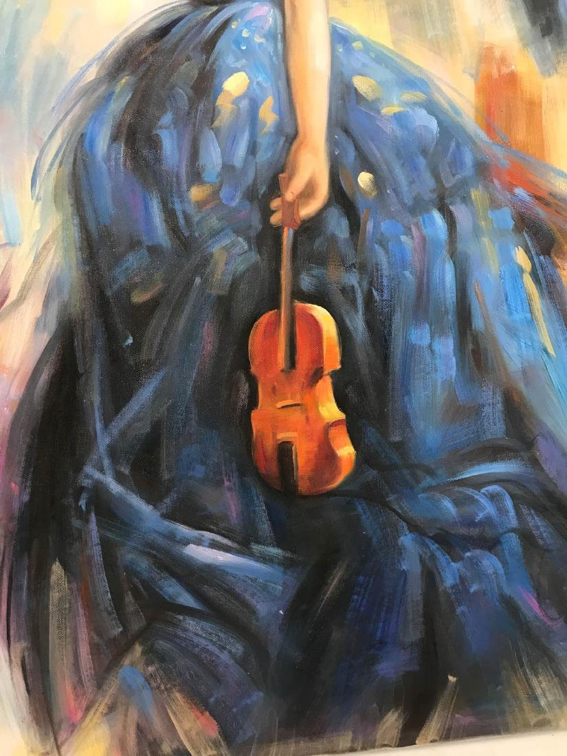 Oil on Canvas of Woman in Blue Dress w/ Violin - 3