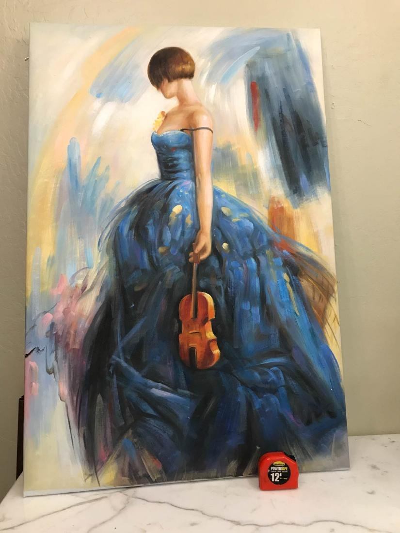 Oil on Canvas of Woman in Blue Dress w/ Violin - 4