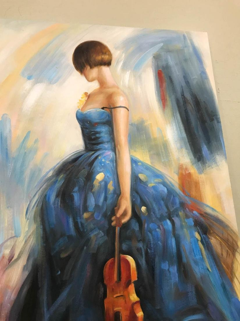 Oil on Canvas of Woman in Blue Dress w/ Violin - 5